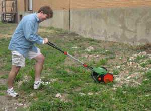 george mowing rocks